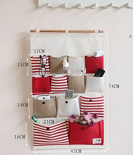 Red Easy handle and fashion Vipo Durable Wall Door Closet Hanging Storage bag organizer 13-Pockets.