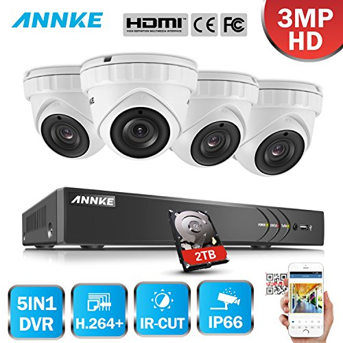 ANNKE 8CH 5 in 1 HD-TVI 3MP 1920×1536 18fps DVR Recorder Security System, with 4 3-Megapixel Outdoor Dome Cameras, Motion Detection, Super Night Vision-One 2TB HDD