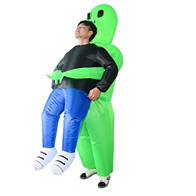 99815e8881 Amazon.com  RHYTHMARTS Alien Inflatable Costume Adult Ghost Pick Me Up  Cosplay Costume for Fancy Dress Jumpsuit Suit -1PC (Alien) Green  Clothing