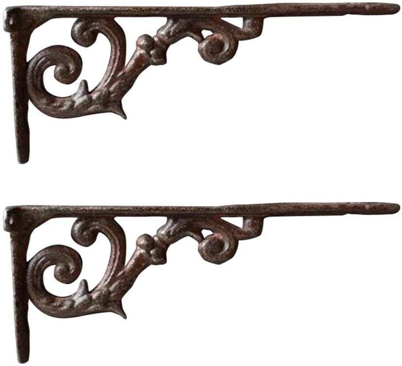 Vintage Ancien Lot de 2 Couleur Bronze Relaxdays /Équerre /étag/ère Murale Support en Fonte de Fer Ornements baroques
