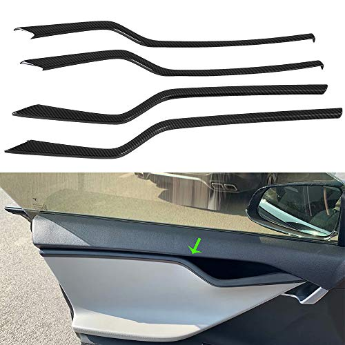 OBL Car Inner Door Trim Cover Interior Mouldings Trims 4 pcs for Tesla Model S 2016-2019 ABS Plastic Car Accessories