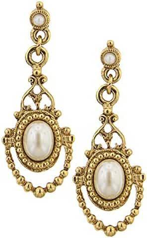 1928 Jewelry Her Majesty Simulated Pearl Earrings