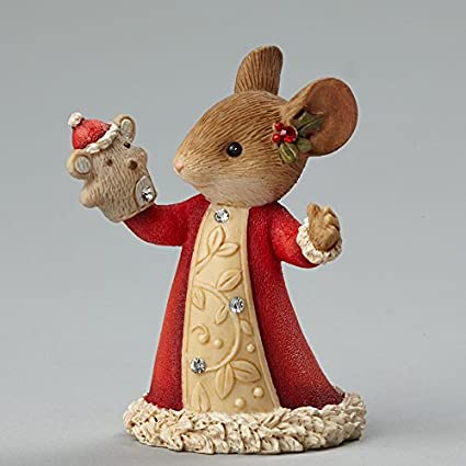 Enesco Heart of Christmas Mouse with Puppet Figurine, 1.97-Inch