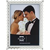Prinz Elegance Silver Plated Metal Frame with Enamel Inlay and Jewels, 8 by 10-Inch