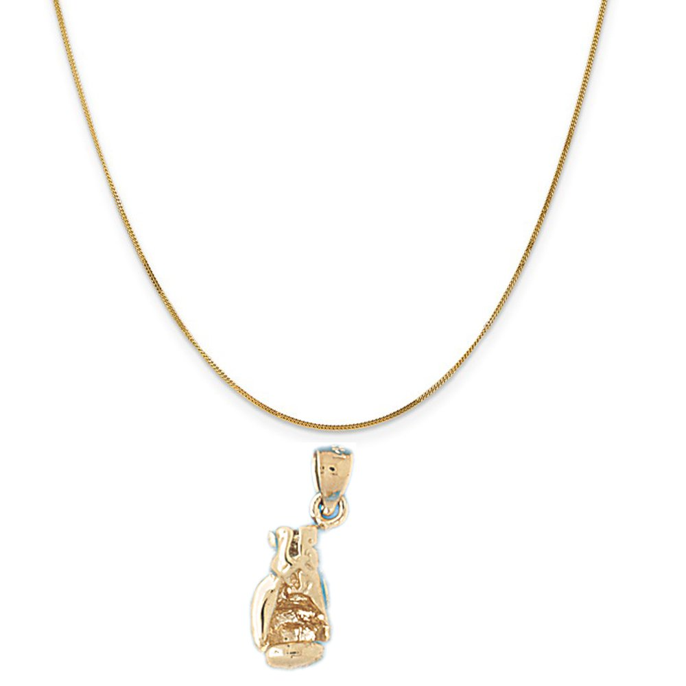14k Yellow Gold 3-D Boxing Gloves Pendant on a 14K Yellow Gold Curb Chain Necklace, 16''