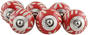 IndianShelf Handcrafted Pack of 10 Ceramic Red Etched Furniture Dresser Door Knobs for Cabinets Cupboards Drawer Pulls Designer Gift