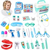 KIDCHEER Pretend Play Doctor Kit for Kids, Dentist Role Play Educational Toy for Toddler Boys Girls with Storage Box - 36PCS