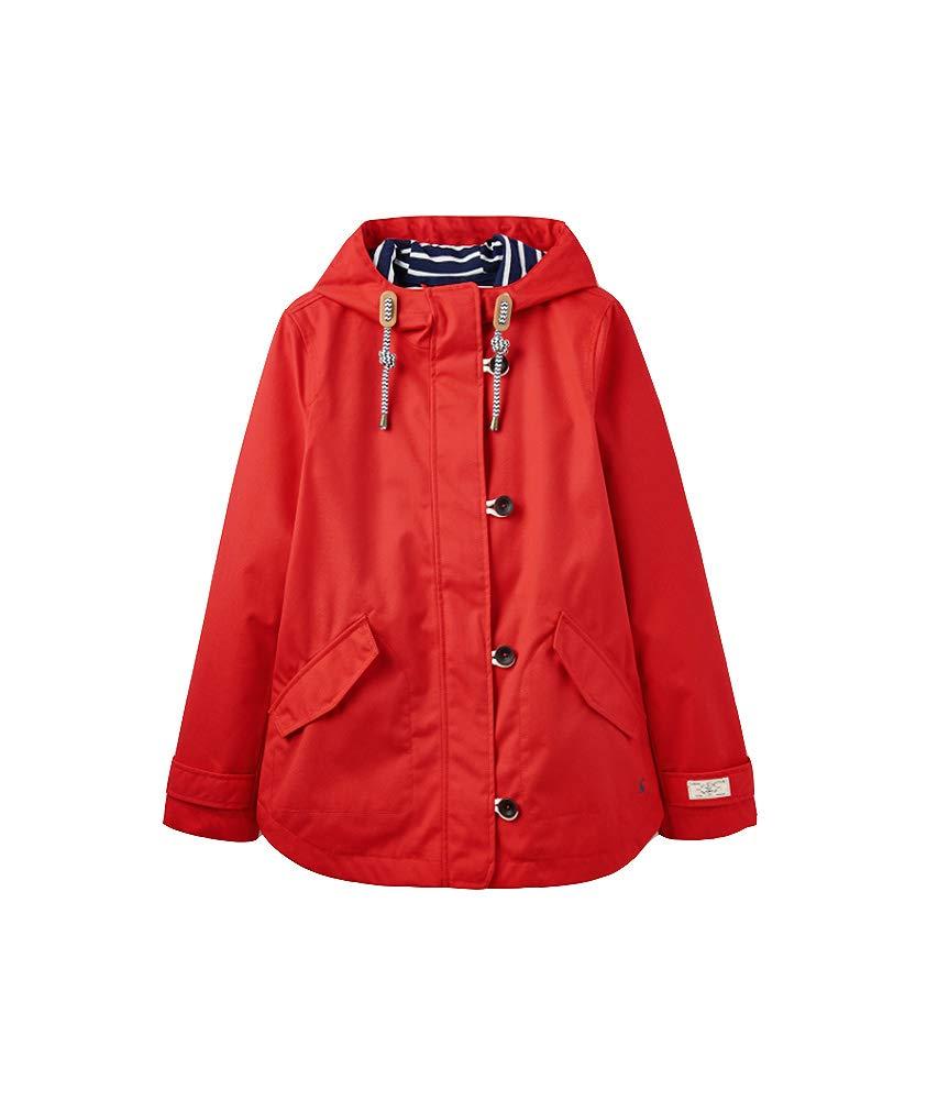Joules Women's Coast Waterproof Hooded Rain Jacket (Red (Red Red), US 4 / EU 36 / UK 8)
