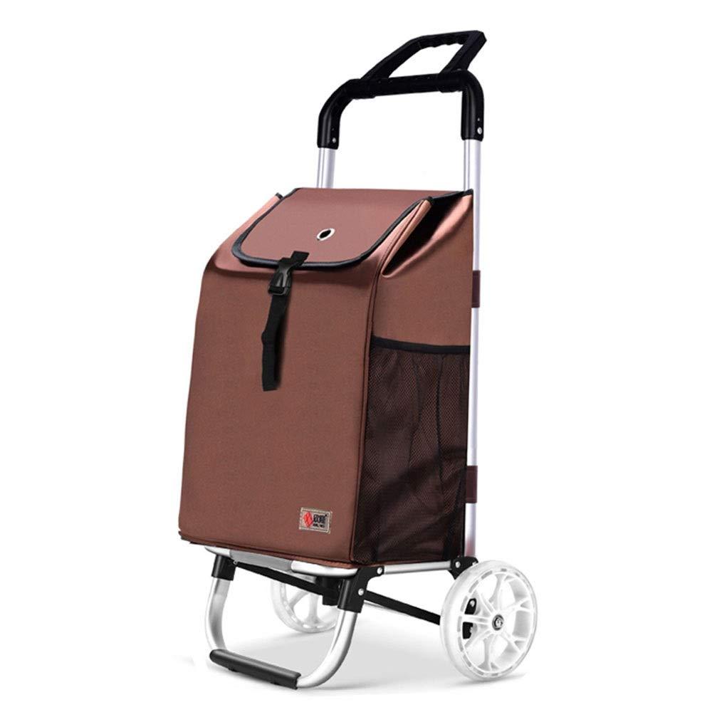食糧小さいカートの折り畳み式のショッピングトロリーアルミ合金の二重車輪のトロリーポータブル GW (色 : Brown, サイズ さいず : 96cm) 96cm Brown B07QKM2Q3Q