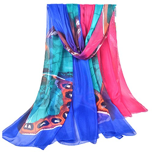GERINLY Chiffon Sarong Wrap: Butterflies Print Plus Size Beach Cover Up (Blue)