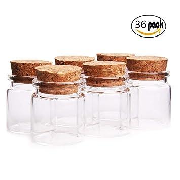 Fiesta Contigo- 36 Unidades Mini Botellas de Cristal con Tapones de Corcho/Mensaje/Deseo de Fiesta de Bodas. (37mm x 40mm,20ml): Amazon.es: Hogar