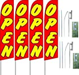 Cheap Pack Of (4) 'Open' Feather Flag Banners + 2 Kits