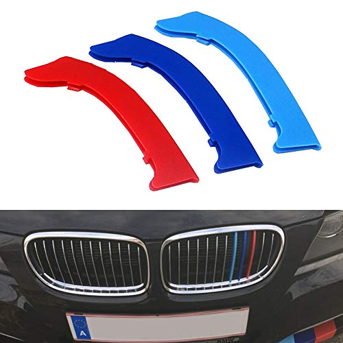 for 09-12 BMW 3 Series E90 E91 (12 Grilles one Side) 3D M Styling 3 Colors Front Grille Trim Motorsport Stripes Grill Cover Performance Stickers 3Pcs ()