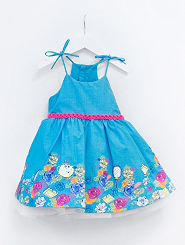 Disney Collection by Tutu Couture Beauty & The Beast Belle Chambray Romantic Tutu Dress (10, Turquoise) (Kids Couture Disney)