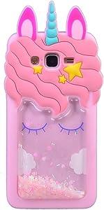 iFunny 3D Cute Cartoon Kawaii Quicksand Unicorn Bling Glitter Kids Girls Women Soft Silicone Case for Samsung Galaxy Grand Prime G530/J2 Prime/Grand Prime Plus G532 (Quicksand Unicorn)
