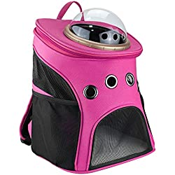 Texsens Canvas Transparent and Breathable Capsule Portable Pet Backpack for Going out or Travelling (Rosy)