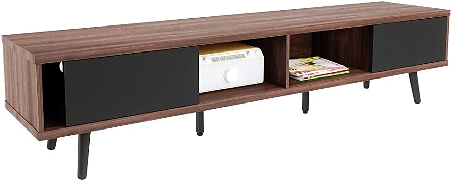 Amazon Com Bestier 70 Inch Large Entertainment Tv Stand Wood Media Storage Console Center For Tv Mid Century Modern Entertainment Center Hollow Core Tv Stand Cord Management For Living Room Walnut Furniture