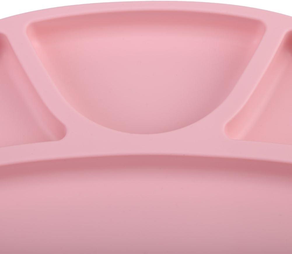Pink B/éb/é et Pu/ériculture Assiettes en Silicone pour B/éb/és Assiettes Divis/ées Repas Vaisselle Micro-Frigo Portable pour Garsons et Filles