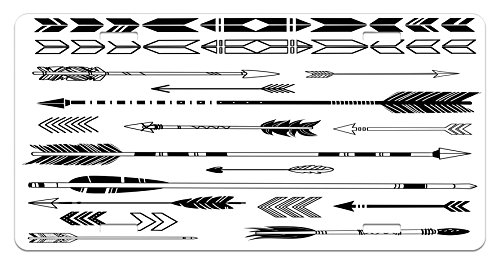 Arrow License Plate by Lunarable, Cute Indie Ethnic Western Tribal Arrows Traditional Aztec Tribal Folk Culture Print, High Gloss Aluminum Novelty Plate, 5.88 L X 11.88 W Inches, Black - Boys Indie Cute