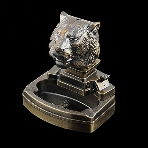 Tiger Shaped Novelty Cigarette Cigar Lighter Refillable Butane Gas Lighter with Ashtray Ash Tray