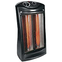 Modern Portable Black Quartz Radiant Heater | Contemporary Home Indoor Medium Sized Space Heater by the Work shops or Garage