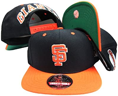 American Needle San Francisco Giants Black/Orange Two Tone Plastic Snapback Adjustable Snap Back Hat/Cap