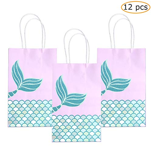 MSDADA FANTASY Mermaid Gift Bags Purple 12pcs,Mermaid Party