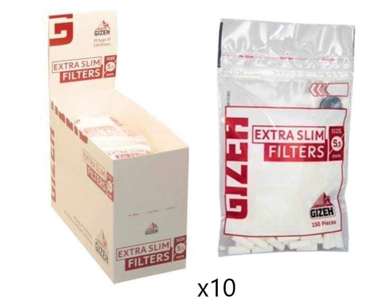 Gizeh Extra Slim Cigarette Filter Tips 5.3 mm Lot of 10 Boxes of 20 Bags Each Box