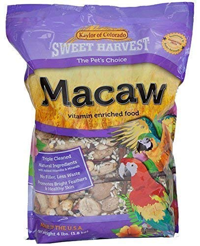 Sweet Harvest Macaw Bird Food, 4 lbs Bag - Seed Mix for Macaw ()