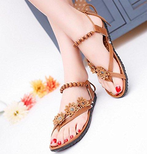 talón plano de las sandalias de las mujeres moldeadas flores del cordón de las sandalias planas de diamantes de imitación tanga Brown