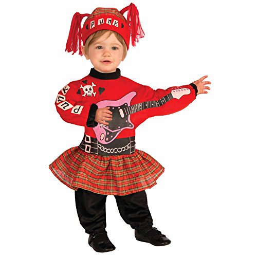 Rock Baby Costume (Forum Novelties Baby Boy's Lil' Rock Star Punk Baby Girl Costume, Multi,)