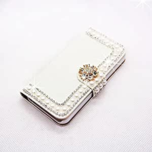 Luxury 3D Fashion Pearl Flower Bling Diamond Bow PU Flip Wallet Leather Case Cover For Smart Mobile Phones (ZTE ZMax Z970 , White ).