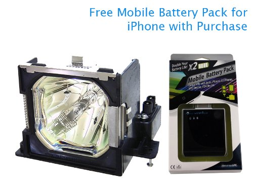 318w Projector Lamp - Projector Lamp for Sanyo POA-LMP101 318-Watt 2000-Hrs UHP with free Mobile Battery Pack