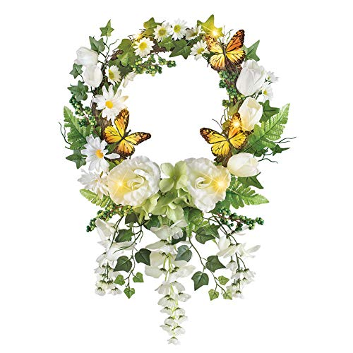 Collections Etc Lighted White Garden and Butterfly Wreath with Hanging Wisteria and Ivy - Spring Home Décor (Swags Summer Door)