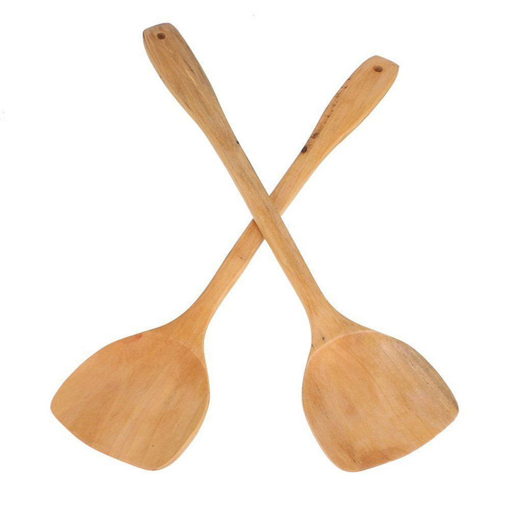 VALINK TRTA11A 2pcs Lengthening Wooden Turner Spatula Safe For Non-Stick Cookware bamboo Kit..