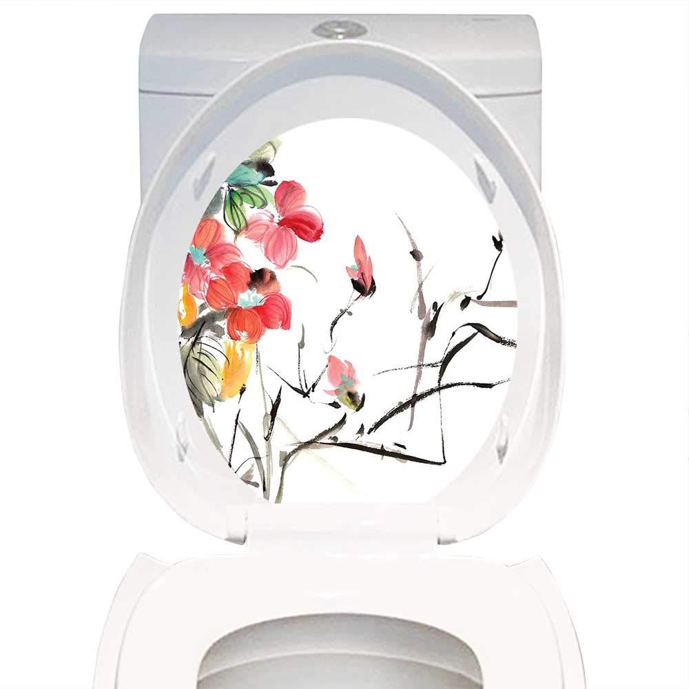 Qianhe-Home デカール ウォールアート 装飾テーマプリント 日本装飾 シンプル 桜 木 アジア ボタニックテーマ パターン フレッシュオーガニックライン アートワーク レッド ブラック。 トイレの装飾 W6 x L8 W11