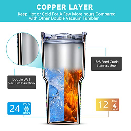 Yoelike 30 oz Tumbler Double Wall Stainless Steel Vacuum Insulated Travel Mug with 2 Straws, 2 Splash Proof Lid, 1 Straw Cleaning Brush (30 Oz, Sailboat)