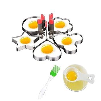 Juego de 5 anillos antiadherentes de acero inoxidable para hornear huevos fritos y ollas de pastelería