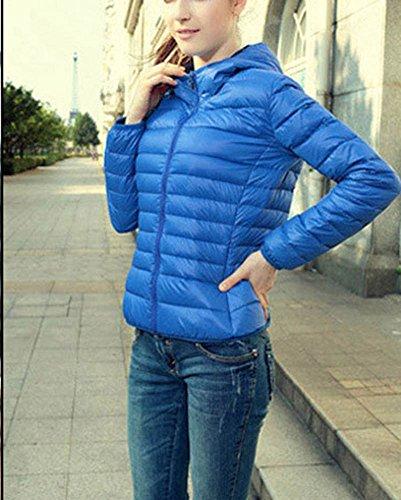 Giacca Cappuccio Cappotto Con Blu Piumino Manica Leggera Lunga Ultra Donna Cappotti Corti XE1wng