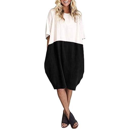 7de718f99 UOFOCO Casual Loose Soild Button Splice Dress Women Linen Patchwork Half  Sleeve Pocket Dress