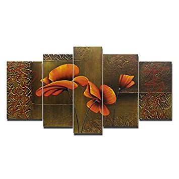 Wieco Art Composition of Three Poppies Large Modern 5 Panels 100 Hand Painted Gallery Wrapped Contemporary Floral Oil Paintings on Canvas Wall Art Ready to Hang for Living Room Office Decor L