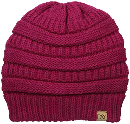 D&Y Women's David & Young's Solid Slinky Beanie, Fuchsia one Size ()