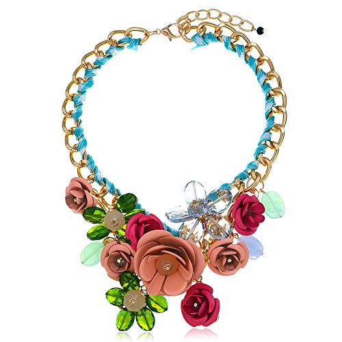 - HoBST Flower Floral Collar Statement Necklace Pink Green Bible Choker Chunky Pendant for Women Fashion