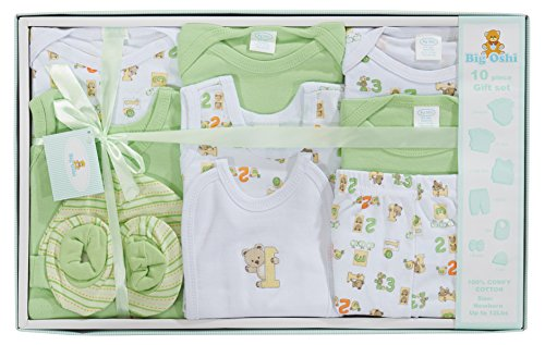 (Big Oshi 10 Piece Layette Newborn Baby Gift Set for Boys - Great Baby Shower or Registry Gift Box to Welcome a New Arrival - All Essentials - 2 Bodysuits, 4 Shirts, Bib, Pants, Booties, & Cap, Green)