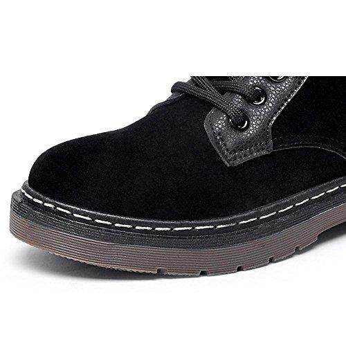 Wildleder Flache Plüsch Frauen 40 Ankle Ferse Lässige Dicker Schnürsenkel Kurze Winter Retro Schuhe Warme Stiefel Martin qwaAXIa