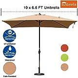 Sundale Outdoor 6.5 x 10 Ft Sunbrella Canopy Rectangular Umbrella Patio Garden Outdoor Aluminum Market Umbrella with Crank and Push Button Tilt, Camel