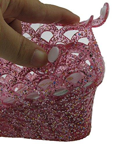 Rose Femmes Jelly Plastique Haut Pluie Chaussures Talons Donalworld Wedge D'été Sandales RvdwBq4vxT