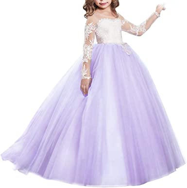 Kids Flower Girl Dress Party Wedding Jr.Bridesmaid Formal Gown Long Maxi Dresses