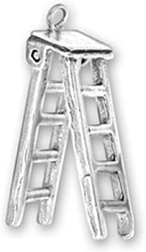 Sterling Silver Womens 1mm Box Chain 3D Moveable Painters Folding Step Ladder Pendant Necklace