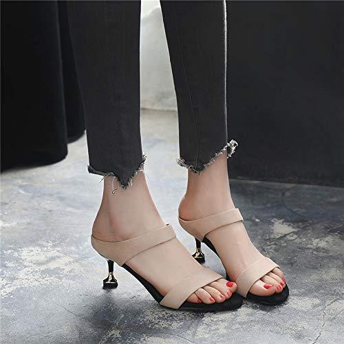 Sandalias En El Verano Estudiante Zapatos Arrastre Gato Aguja Yukun Alto De Cm Medio Tacón Con Exterior 5 Apricot Moda Femenino 8RA81qI